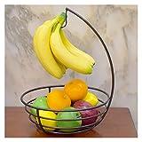 Frutero Moderno Diseño a prueba de herrumbre del cuenco de fruta de plátano de cocina Gancho multi-uso del hierro en rack de almacenamiento de escritorio del metal de la cesta de verduras de contenedo