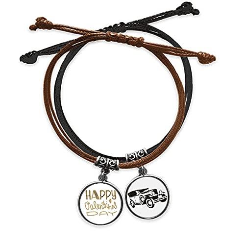 Bestchong Joyeuse Saint - Valentin Day Or cite Style Bracelet Corde Main Chaîne Bracelet Cuir Minibus