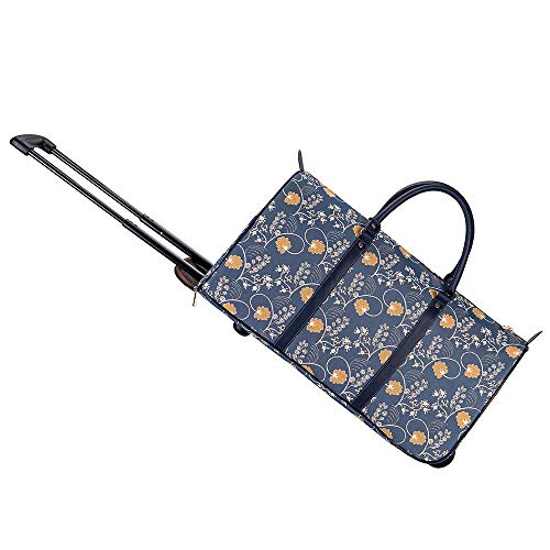 Signare Tapestry Travel Bag Overnight Bags Weekend Bag with Wheel for Women with Garden Flower and Creatures (Austen Blue, Pull-AUST)