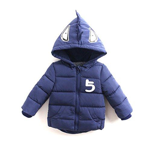 Foyeria Down Coat Down Jacket Monster Hooded Winter Outerwear For Baby Boys Girls Warm Puffer Windproof Winter Coat (Black, 4T)