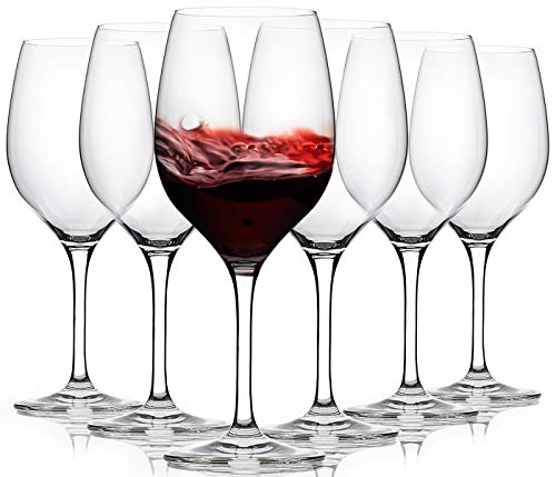 FAWLES Crystal Red Wine Glasses Set of 6, 17 Ounce Thin Rim Classic Rounded Bowl Stemmed All-purpose Wine Glass Set, Housewarming / Anniversary / Wine Gift Set