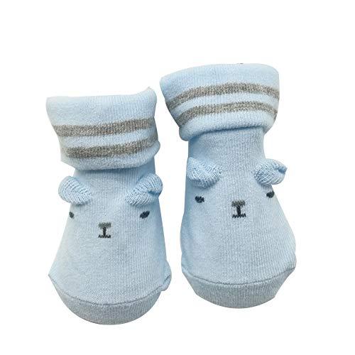 Bodhi2000 - Calcetines de botín unisex para recién nacidos, antideslizantes, suela transpirable, calcetines al tobillo Azul azul Talla única