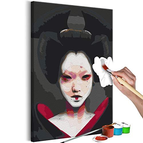 murando Pintura por Números Retrato mujer geisha Japón 40x60 cm Cuadros de Colorear por Números Kit para Pintar en Lienzo con Marco DIY Bricolaje Adultos Niños Decoracion de Pared Regalos n-A-1479-d-a