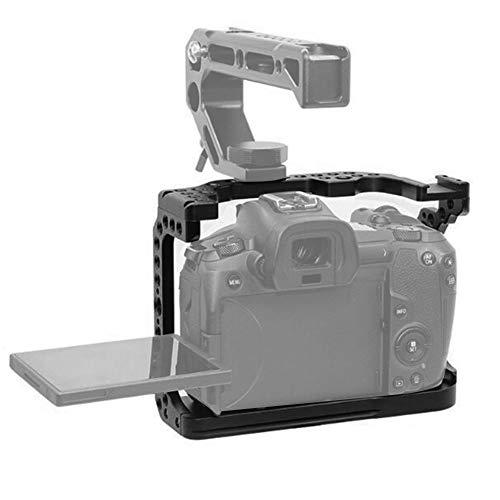 Topiky Gabbia di prolunga per Fotocamera Canon EOS R Mirrorless, Custodia per Fotocamera in Lega Custodia per Telaio Custodia con interfaccia per Slitta per Microfono Estensibile, Luce LED