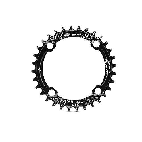 YueMing Plato de Bicicleta, 104 BCD 32T Anillo de Cadena Simple Ancho Estrecho, Redonda Sola Cadena Anillo Aleación de Aluminio para Bicicletas de Carretera Montaña BMX MTB