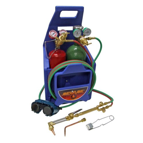 Ameriflame TI350T Medium/Heavy Duty Portable Welding/Cutting/Brazing Outfit with Plastic Carrying Stand Plus Oxygen and Acetylene Tanks