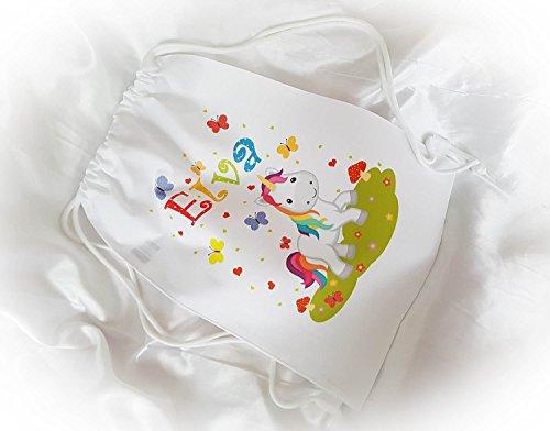 Turnbeutel Sportbeutel Schuhbeutel Schwimmbeutel Rucksack BagBase mit Namen Wunschmotiv für Kindergarten, Schwimmen, Schule Sport - Wunschname (Rosa, Bunt, Einhorn)