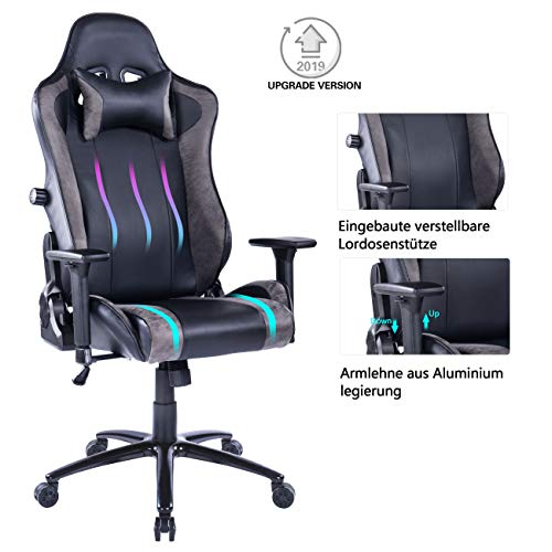 Bester der welt Verstellbares Lendenkissen mit eingebautem Wolmics-Gaming-Stuhl Robuste Metallbasis, verstellbar…