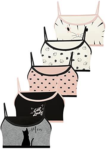 LOREZA ® 5 Brassières en Coton pour Fille sous-vêtements- M-5971610CT - 10-11 Ans