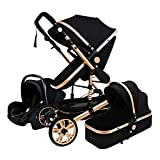 JCXT Baby Stroller Pram Travel System 3 in 1, Adjustable High View Newborn Pram Infant Carriage Pushchair, Carseat and Strollers Combo with Baby Basket and Stroller Fan (Black)