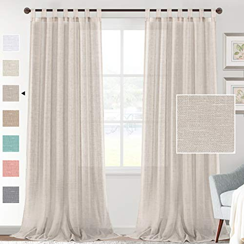 """H.VERSAILTEX Natural Linen Sheer Curtains 95 Inch Length - Semi Sheer Tab Top Curtain Sets for Living Room/Bedroom Privacy and Sunlight Filtering, 2 Panels (52"""" W x 95"""" L, Linen)"""