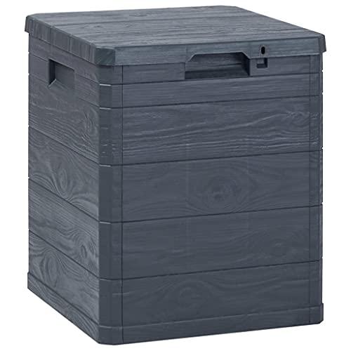 vidaXL Caja Almacenamiento de Jardín Soluciones para el Orden del Hogar Mobiliario Muebles Decoración Casa Hogar Exterior Cobertizo 90 L Gris Oscuro
