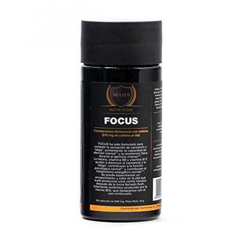 FOCUS Combate la sensación de cansancio y aumenta la resistencia durante el esfuerzo físico intenso con alcaloides, Maca, Ginseng, niacina y vitaminas B6 y B12. 60 cápsulas, 568 mg.