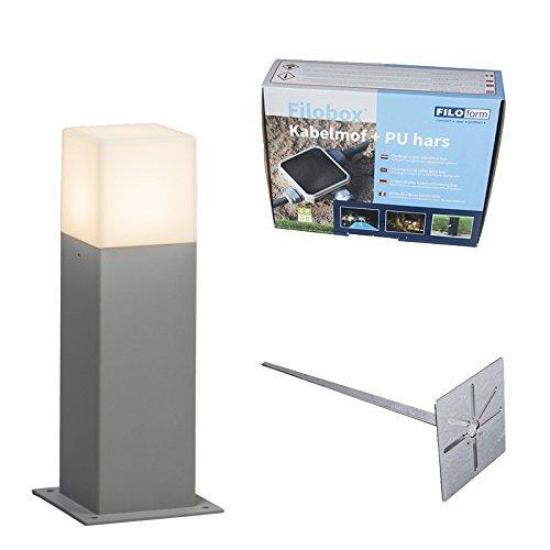 QAZQA Moderno Baliza 30cm gris pin tierra y kit conexión subterránea -...