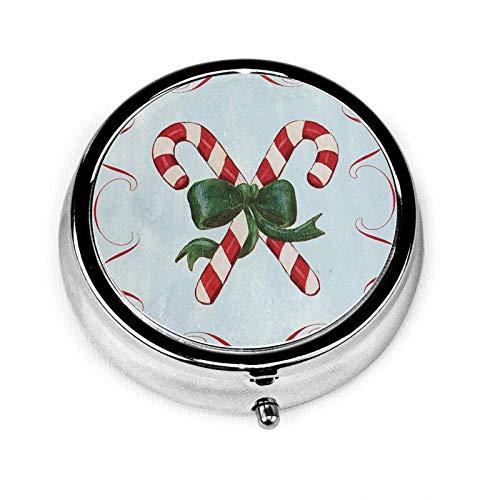 Pastillero, bastón de caramelo de Navidad redondo de metal, mini contenedor organizador portátil con 3 compartimentos para viajes y uso al aire libre