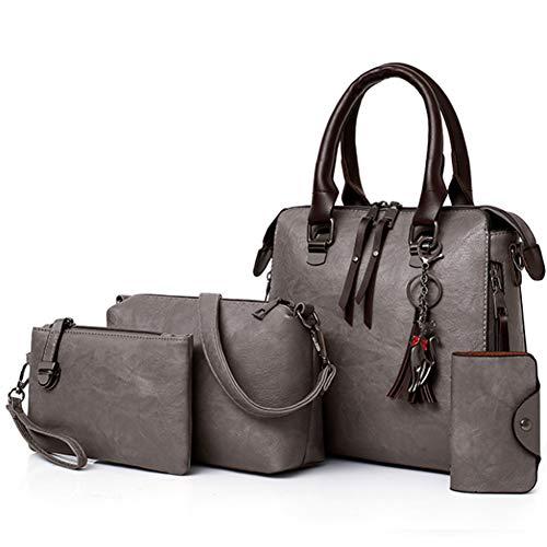 Segater® Damen Mode-Handtasche+Schultertaschen+ Geldbörse+Kartengeldbeutel Frau PU Leder Umhängetaschen Shopper Tote 4 Stück