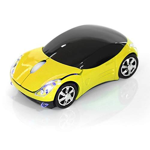 Mouse Senza Fili per Bambini, Mouse Wireless Wi-Fi 2.4G con Ricevitore USB, Mouse Senza Fili per Auto Mouse Ottico Bluetooth 1600 DPI per Laptop PC Tablet Gaming Office Mac Windows(Giallo)