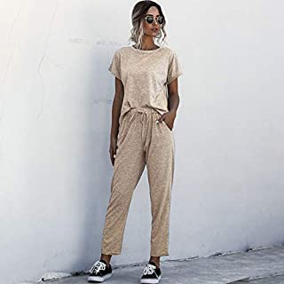 Tickas T-shirt Pants,Women Solid Short Sleeves T-shirt Pants Set Round Neck Elastic Waist Pockets Comfortable Tracksuit Casual 2pcs Loungewear