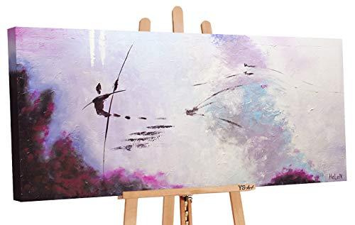 YS-Art   Dipinti a Mano Сolori acrilici Volo Senza fine   Quadro Dipinto a Mano   115x50cm   Pittura   Dipinti Modern   Quadri Dipinti a Mano   Viola