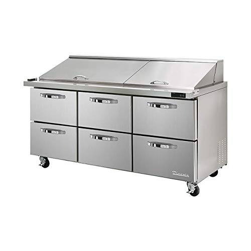 Blue Air BLMT72-D6-HC 6 Drawer 72 inches Mega Top Refrigerated Sandwich/Salad Prep Table, 20.2 cu. ft