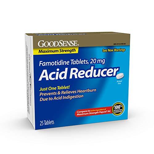 Good Sense Maximum Strength Famotidine Tablets 20 mg, Acid Reducer for Heartburn Relief, 25 Count