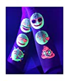 "Temporary Tattoos – 1 Sheet Emoticon Design Body Paint Art Blacklight Reactive Light Festival Accessories Glow in the Dark Party Supplies | 7.2"" x 5.2"" Temp Great for EDM EDC Party Rave Parties"