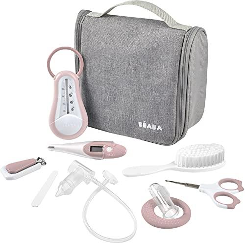 BÉABA, Neceser de baño para bebé Nomade – 9 accesorios, entre ellos termómetro de baño, termómetro digital, anillo de dentición, masajeador de guencivas, mosca para bebé manual, Old Pink