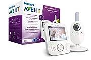 Philips AVENT SCD843/26 Video-Babyphone, 3,5 Zoll Farbdisplay, Eco-Mode, Gegensprechfunktion, Nachtlicht, weiß-grau