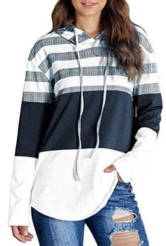 ORANDESIGNE Pull à Capuche avec Cordon de Serrage Triple Couleur pour Femme Automne Rayure Manches Longues Sweats avec Capuche A Blanc 44