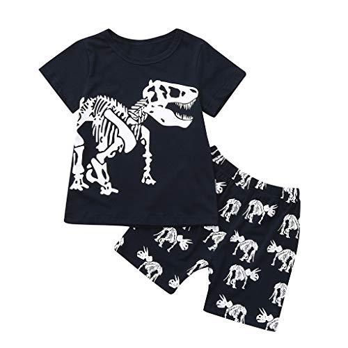 JUTOO 2 Stücke Set Sommer Kleinkind Baby Kinder Jungen Dinosaurier Lässige Nachtwäsche Tops + Hosen Outfits Set (Weiß,7Y)