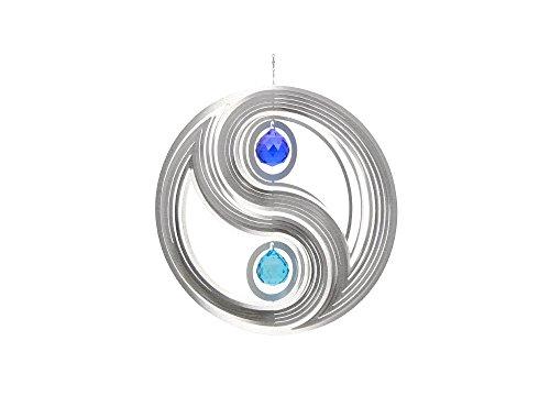 Illumino Windspiel Yin Yang für den Garten aus Edelstahl | 40 mm Opal Glas-Kristallen | Rostfreies Metall | Garten-Dekoration für draußen zum Aufhängen | Türkis und Kobaltblau | 300 mm Durchmesser