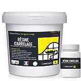 peinture pour carrelage cuisine salle de bain résine rénovation meuble - RAL 9003 Blanc - Kit 1 Kg jusqu'à 10 m² pour 2 couches - ARCANE INDUSTRIES