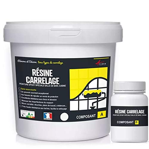 FLIESENLACK : Fliesenfarbe für Küche und Badezimmer - Wandfliesen - Weiß RAL 9003 - Kit 1kg bis zu 10 m² für 2 Schichten