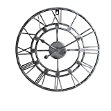 AMYZ Reloj de Metal de Cara Abierta de Hierro Redondo - Reloj de Pared con Arte de Hierro Creativo,Dormitorio,Sala de Estar,Reloj Simple,Reloj Artesanal-Silver_60cm