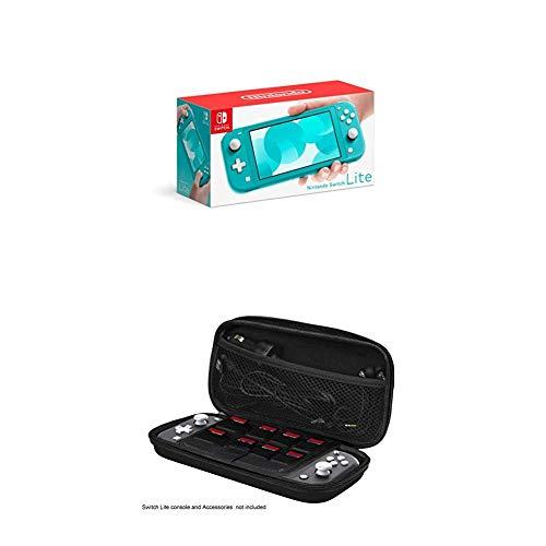 Nintendo Switch Lite, Standard, türkis-blau + iMW Transport-Case für Nintendo Switch Lite, Schwarz