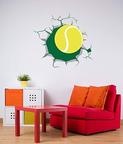 Pallina da tennis che rompe la decalcomania della parete Sfera che arriva attraverso il muro Effetto 3D Adesivo in vinile Sport Design a tema per qualsiasi stanza Decor CG771