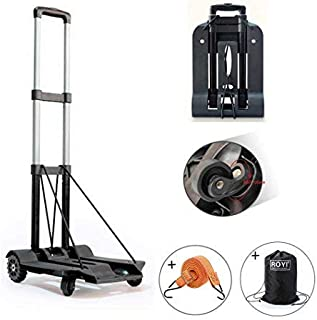 Folding Hand Truck, 75 Kg/165 lbs Heavy Duty Solid Construction Utility Cart Compact and Lightweight for Luggage, Personal, Travel, Auto, Moving and Office Use - Portable Fold Up Dolly(4 wheel-rotate)