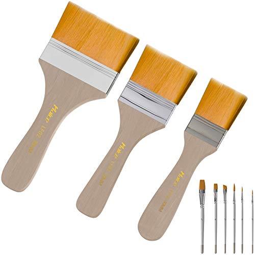 Juego de 9 pinceles, juego de pinceles de esmalte plano Haice de 3 piezas con 6 bolígrafos de agua, pincel de artista-pincel acrílico-pincel de acuarela