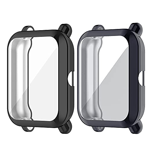 Chofit Fundas compatibles con Amazfit Bip U/GTS 2 Mini funda, protector de pantalla de TPU plateado funda protectora Armor Shell para Bip U/GTS 2 Mini/Bip U Pro/Bip S/Bip Smartwatch (Negro+Gris)