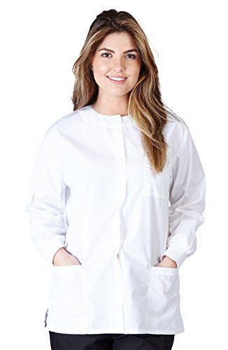 Natural Uniforms Women's Warm Up Jacket (White) (Large) (Plus Sizes Available)