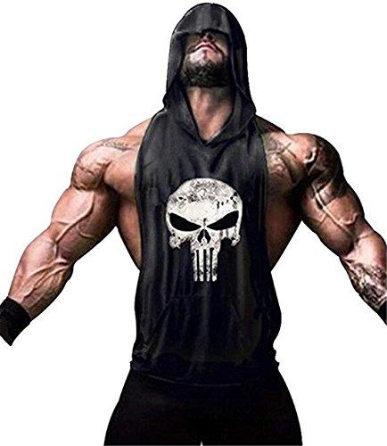 YeeHoo Herren Sport Tank Top mit Kapuze Muskelshirt für Training Gym Fitness & Bodybuilding