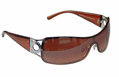 Sonnenbrille Damenbrille Schwarz Brille Monoglas Sportlicher Style Damen M 34 (Braun Silber)
