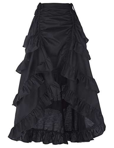 Belle Poque Falda para Mujer en Negro Puro Gothic Lolita Band S Negro