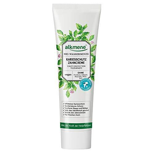 alkmene Kariesschutz Zahnpasta mit Bio Wasserminze - vegane Zahncreme mit 6-fach Schutz ohne Silikone, Parabene, Mineralöl, PEGs, SLS & SLES - Toothpaste (1x 100 ml)