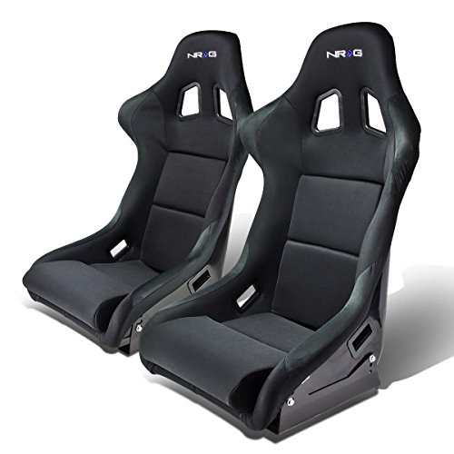 NRG FRP-310 Pair of Fiber Glass Bucket Style Racing Seat w/Adjustable Mounting Bracket (Black)