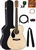 Fender CD-60SCE Dreadnought Acoustic-Electric Guitar, Left Handed - Natural Bundle with Hard Case, Cable, Tuner, Strap, Strings, Picks, Austin Bazaar Instructional DVD, and Polishing Cloth