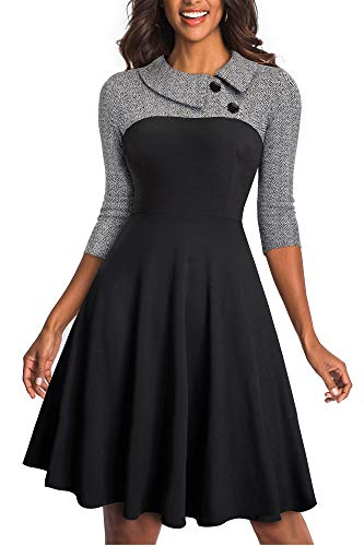 HOMEYEE Damen Vintage Revers Colorblock Houndstooth Patchwork Swing Business Kleid A121 (EU 40 = Size L, Grau Stoff B)