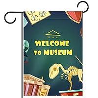 ガーデンフラッグ縦型両面 28x40in 庭の屋外装飾.漫画博物館の招待状