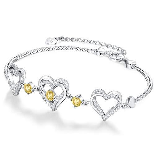CDE Forever Love Heart November Birthstone Bracelets Jewellery for Women 925 Sterling Silver Charm Bracelet Adjustable Wedding Anniversary Birthday Jewelry Gifts for Her Girls Wife Girlfriend