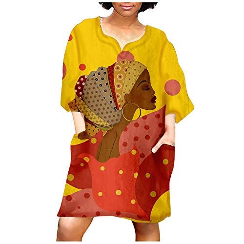 Minikleid Traditionelle Afrikanische Cocktailkleid Damen Kurzarm Sommerkleid Strandkleid Kleider Retro Bedrucktes Ärmelkleid Mode Mittelarm V-Ausschnitt Lässig Freizeitkleid (I-Gelb, 3XL)